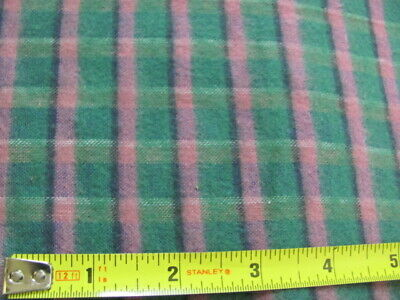 Antique cotton flannel green pink plaid never used over 5 yards