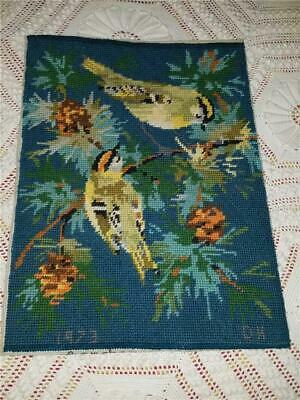 Vtg 12X16 Finished Needlepoint Gold Crest Birds On Branches Berries Teal Yellow