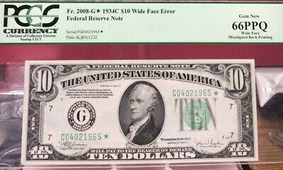 1934C $10 Green Seal Federal Reserve *star Note Double Errors Pcgs 66 Ppq Bin
