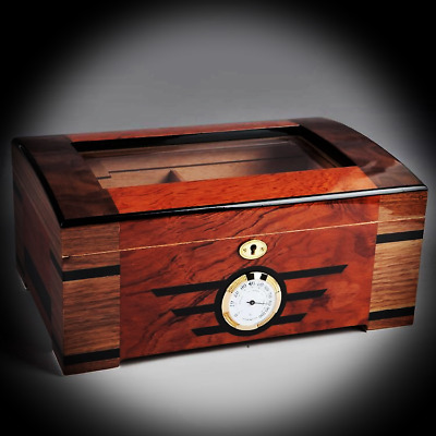 COHIBA High-end Cedar Lined Glass Cigar Humidor With Lock Hygrometer Humidifier