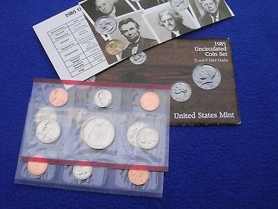 1985 P & D US Mint Uncirculated 10 Coin Set  With COA