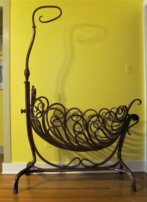 Gorgeous & Rare THONET ART NOUVEAU Bent Wood Bassinet Cradle  c. 1890