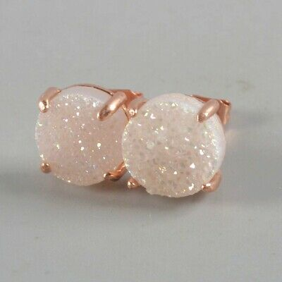 10mm Natural Agate Druzy Titanium AB Claw Stud Earrings Rose Gold Plated H131098