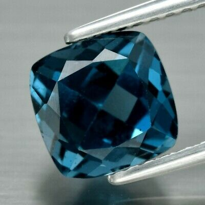 VS 2.62ct 7.2x7mm Cushion Natural London Blue Topaz, Brazil
