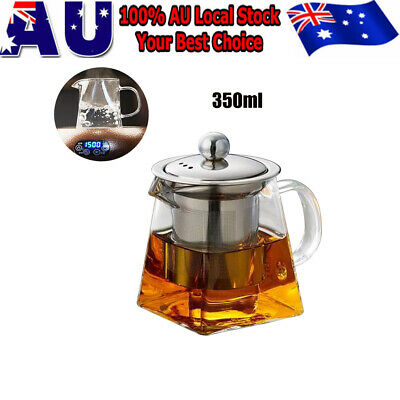 350ML Stainless Steel Infuser Strainer Clear Glass Tea Pot for Loose Leaf Tea