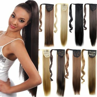 """Extra Long 18-26"""" Thick Wrap Clip in Ponytail Hair Extensions Brown Blonde FO3"""