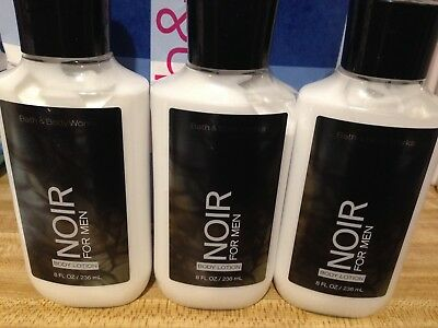 BATH and & BODY WORKS x3 NOIR FOR MEN BODY LOTION HAND CREAM 8 OZ SIGNATURE NEW