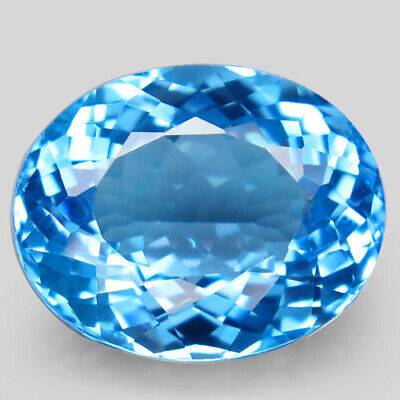 20.21ct.Top Sky Blue Topaz 100%Natural (Brazil) Oval Facet Giant! AAA Shinnnig