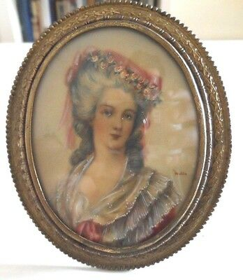 Fine Antique Portrait Miniature, in French Bronze Frame, Romantic Beauty