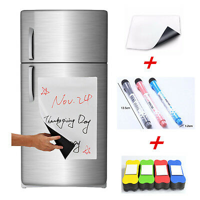 A4 Flexible Fridge Magnetic Whiteboard Memo Reminder Board Pen Eraser Magnet  ZP