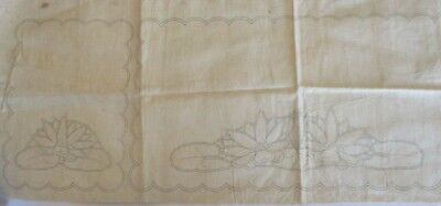 Vintage Linen Duchess D'oiley Set With Waterlilies To Embroider