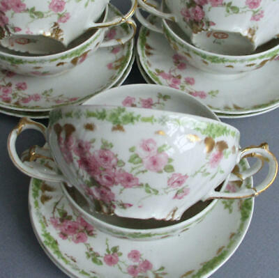 6 Antique LIMOGES French Porcelain Bouillons CREAM SOUPS + Saucers PINK ROSES