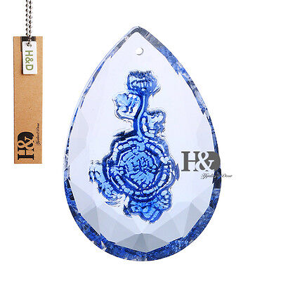 50mm Carved Blue Rose Crystal Lamp Prisms Chandelier Parts Hanging Pendant Decor