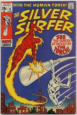 Silver Surfer #15 FN+ 6.5 Surfer vs. Human Torch! Fantastic Four appearance