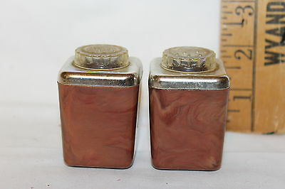 Vintage Art Deco Plastic Brown Marbled Square Salt & Pepper Shakers