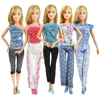 5PCS of TOPS + 5PCS pants fashion dress summer clothes for BARBIE DOLL LOVELY UK