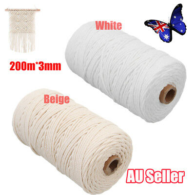 200m 100% Natural Cotton String Twisted Cord Beige Craft Macrame Artisan 3mm L3