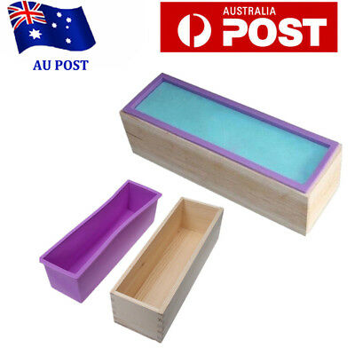 Wood Loaf Soap Mould with Silicone Mold Cake Making Wooden Box 1.2kg soap L3