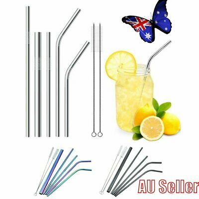 5Pcs Stainless Steel Drinking Metal Straw Reusable Straws Cleaner Brush Kit L3