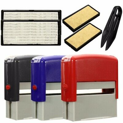 Custom Personalised Self Inking Rubber Stamp Kit Business Name Address DIY L3