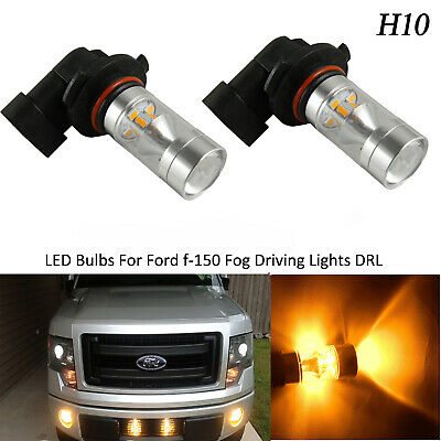 2x 100W H10 9145 High Power LED 3000K Amber Fog Lights Bulbs For Ford F-150