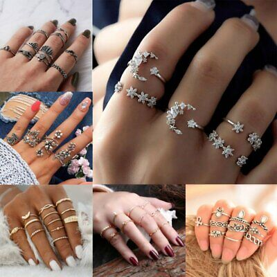 Women Silver/Gold Boho Stack Plain Above Knuckle Ring Midi Finger Tip Rings Set