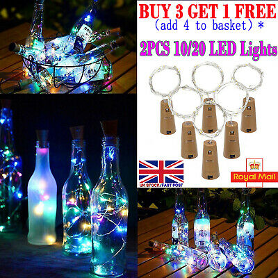 2x Wine Bottle Copper Wire Fairy String light bulb Cork Festival Party 10/20 LED