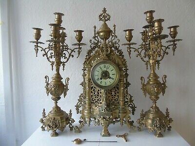 Huge Set of 19th Century French Brass Louis XV Style Mantel Clock Garniture 23""