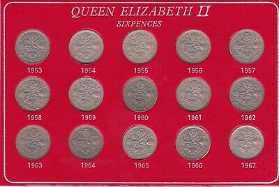 1953 1967 Queen Elizabeth II British 15 Coin Sixpence Tanner 6d Coin Set 2 UNC