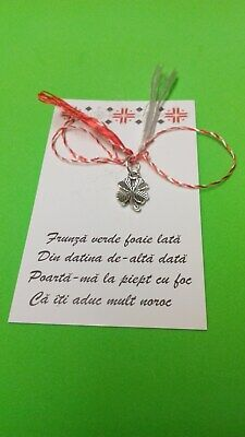 Hande Made Martisoare Martenitsa Romanian Lucky Amulets Traditional 4 Leaf Gift