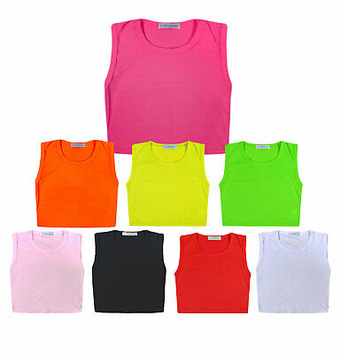 Girls Crop Top Kids Sleeveless Stretch Plain T-shirt Age 5 6 7 8 9 10 11 12 13 Y