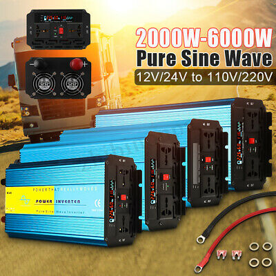 3000W/4000W/5000W Pure Sine Wave Inverter 12V/24V to 110V/220V Power Converter