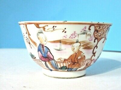 Antique Small Mandarin Chinese Tea Bowl Dish Hand Painted Famille Rose