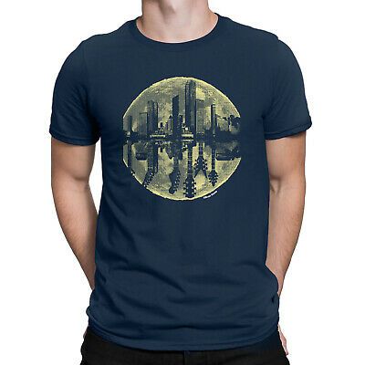 MOON GUITAR Mens Funny Music T-Shirt City Skyline Electric Acoustic Retro Top