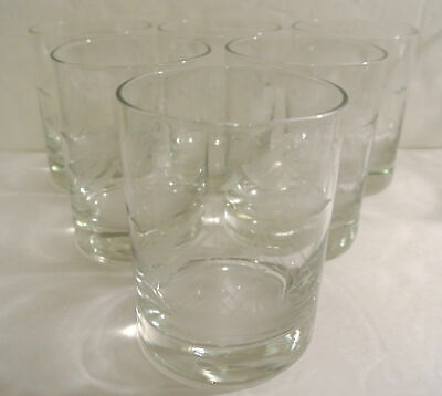 GREAT GIFT * Vintage Set 6 Nautical ETCHED SAILBOAT Glasses Old-Fashioned Glass