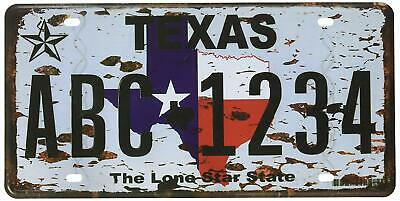 Texas the Lone Star State Vehicle License Plate Souvenir Metal Tin Sign