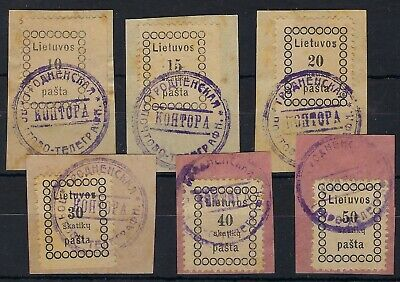 Lithuania 1918 Second Vilnius set of six used on pieces, all inverted h letter