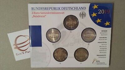 5 x 2 euro 2019 fdc Germania Allemagne Alemania Deutschland Bundesrat Germany