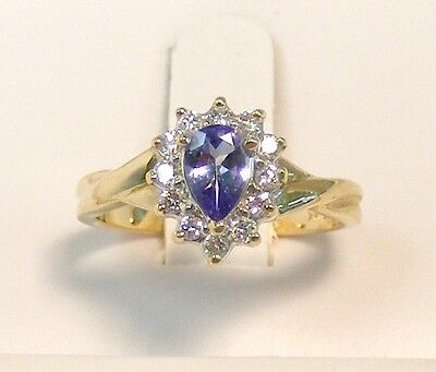 STUNNING 14kt YELLOW GOLD 3/4 cttw PEAR TANZANITE & HALO DIAMOND RING size 6-1/4