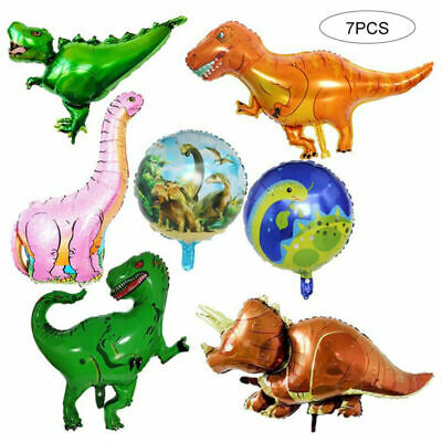 7pcs Giant Foil Dinosaur Balloon Jurassic T Rex Bouquet Decorations