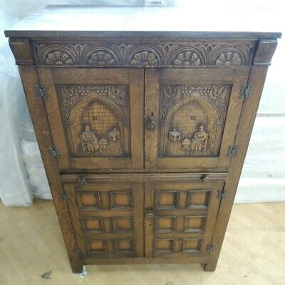 Antique / Gothic / Medieval Style Carved Oak Cocktail Cabinet - K22