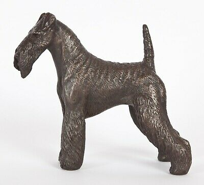 """AIREDALE TERRIER COLD-CAST BRONZE  FIGURINE  6/"""" LONG #63-003"""