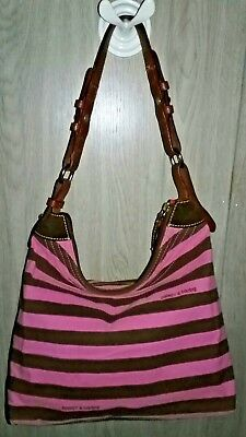 4b9bb58b57ae Dooney   Bourke Pink   Brown Striped Cotton Cloth Zipper Closure Hobo  Handbag