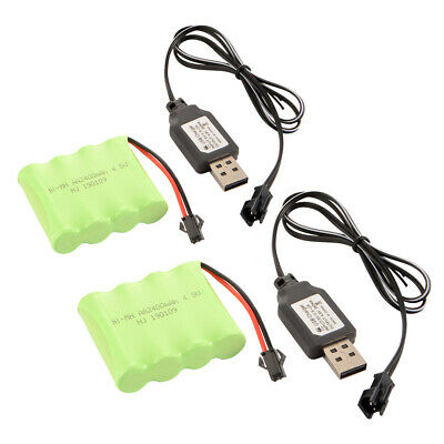 2pcs Ni-MH 4.8V 2400mAh Battery SM Plug+ USB Charger for Electric Car Toys BC823