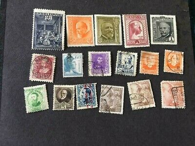 Lot of 17 Spain Stamps, all better, removed from stamp album, current value ?