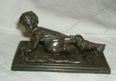 Charming Spelter ? Figure Of A Crawling Child And Dog