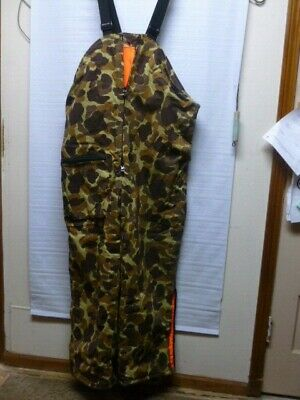 0c58cd7d75908 GAMEHIDE Reversible Orange / Camouflage CAMO INSULATED Bib Overalls Hunting  2XL