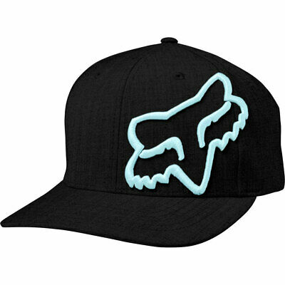 Fox Racing Men's Clouded Flexfit Hat Black Blue Headwear Apparel Sports Baseball