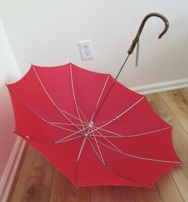 Vintage UMBRELLA Red Nylon with Faux Wood Handle