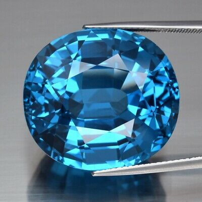 Big! 53.35ct 22.4x20.3mm IF Cushion Natural Swiss Blue Topaz, Brazil